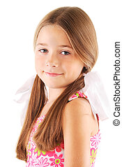 Little girl with bows on white background