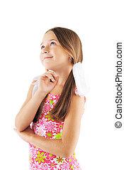 Little girl posing on white background