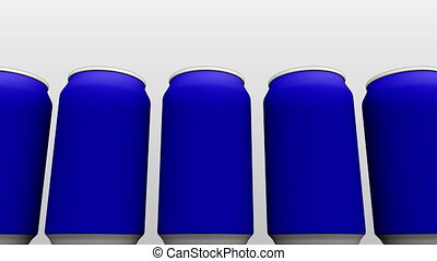 Simplified blue cans against white background. Soft drinks...