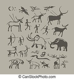 Cave man and animals rock painting - Vector rock painting....