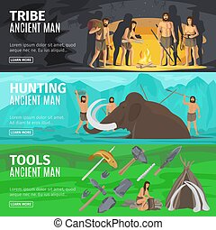 Stone age caveman evolution banners - Stone age extinct...