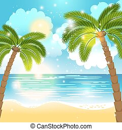 Ocean and palm trees background