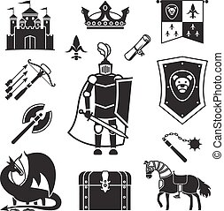 Knighthood in Middle Ages Icons. Medieval ancient armor and...