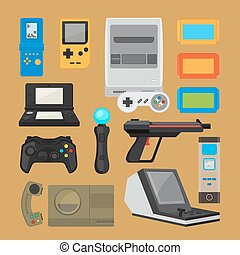 Vintage digital entertainment flat icons