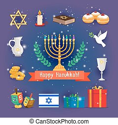 Jewish holidays hanukkah or chanukah icons with menorah...