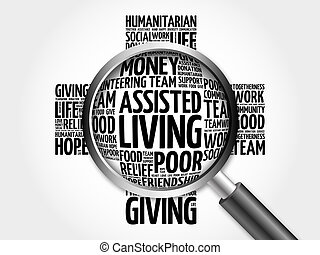 Assisted Living word cloud with magnifying glass, cross...