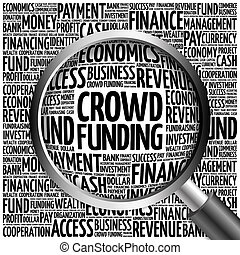 CROWD FUNDING word cloud with magnifying glass, business...