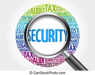 SECURITY word cloud with magnifying glass