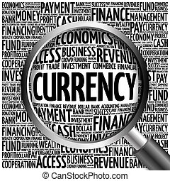 CURRENCY word cloud with magnifying glass