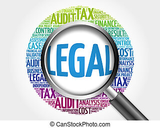 LEGAL word cloud with magnifying glass, business concept 3D...