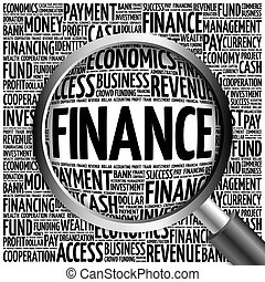 FINANCE word cloud with magnifying glass, business concept...