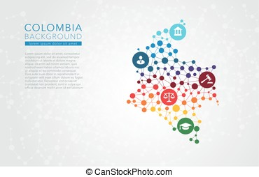 Colombia dotted background - Colombia dotted vector...
