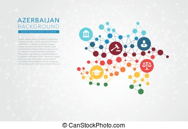 Azerbaijan dotted vector background conceptual infographic...