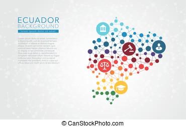 Ecuador dotted vector background conceptual infographic...