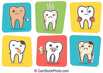Set of sick problematic and unhealthy teeth. Funny cartoon...