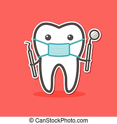 Cartoon doctor tooth in mask with dental probe and mirror....