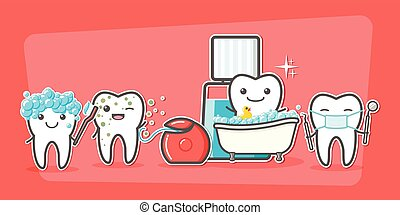 Cartoon teeth care and hygiene concept. Floss, toothbrush,...
