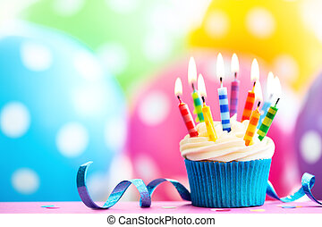 Colorful birthday cupcake - Cupcake decorated with colorful...