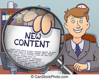 New Content through Magnifying Glass. Doodle Design. - New...