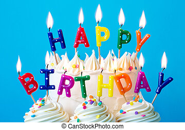 Happy birthday candles - Colorful candles spelling happy...