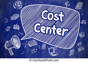 Cost Center - Cartoon Illustration on Blue Chalkboard. -...