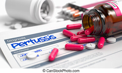 Pertussis - Text in Medical History. 3D Render. -...