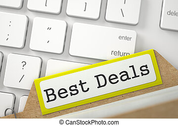File Card with Best Deals. 3D. - Best Deals Concept. Word on...