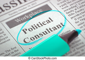 Political Consultant Job Vacancy. 3D. - Newspaper with...