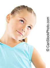 Little girl in blue sportswear