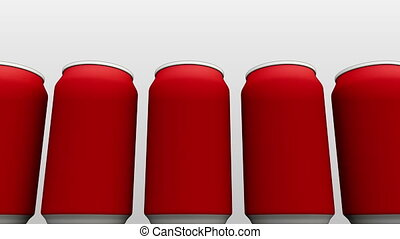 Matte red cans against white background. Soft drinks or beer production. 4K seamless loopable dolly clip, cartoon version
