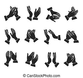 Clapping Hands Icons Set - Clapping monochrome icons set...
