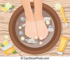 Feets In Basin Composition - Feet vitamin care cream...