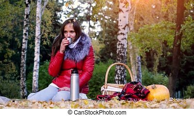 Young beautiful brunette woman sitting on picnic drinking...