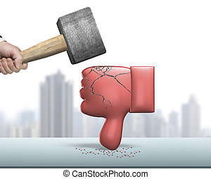 Hand holding hammer hitting red thumb down with cracks -...