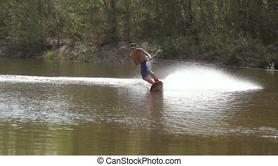 Wakeboarding on the river with action camera.