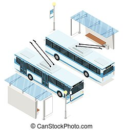 Trolleybus and trolley bus shelter. Both sides views....