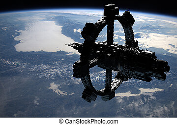 Space Station Orbiting Earth. Elements of this image...