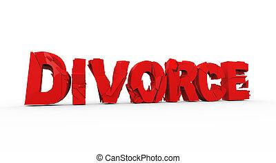 3d demolished word text divorce - 3d illustration of...