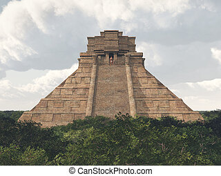 Mayan temple - Computer generated 3D illustration with a...