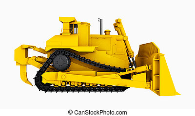 Bulldozer – Side view - Computer generated 3D illustration...