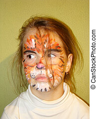girl with the face of the tiger - a beautiful little girl...