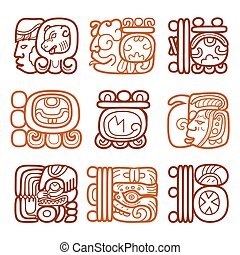 Maya glyphs, writing system and languge vector design -...