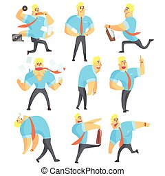 Office Worker Different Work Activities Set Of Drawings