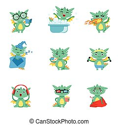 Little Dragon Everyday Activities And Emotions Set. Cute...