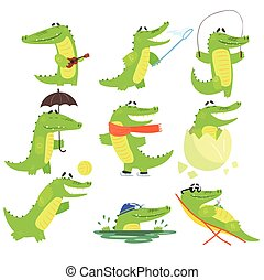 Humanized Crocodile Character Every Day Activities Collection Of Illustrations