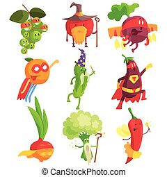 Silly Fantastic Fruit And Vegetable Characters Set....