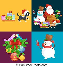 Santa Claus sack full of gifts, snowman candy, decoration...
