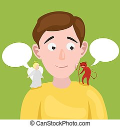 Man with angel and devil on his shoulder vector