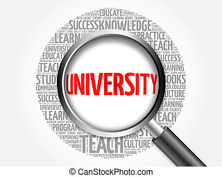 UNIVERSITY word cloud with magnifying glass, concept 3D...