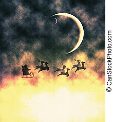 Santa and Crescent Moon - Flying Santa Claus with reindeers...